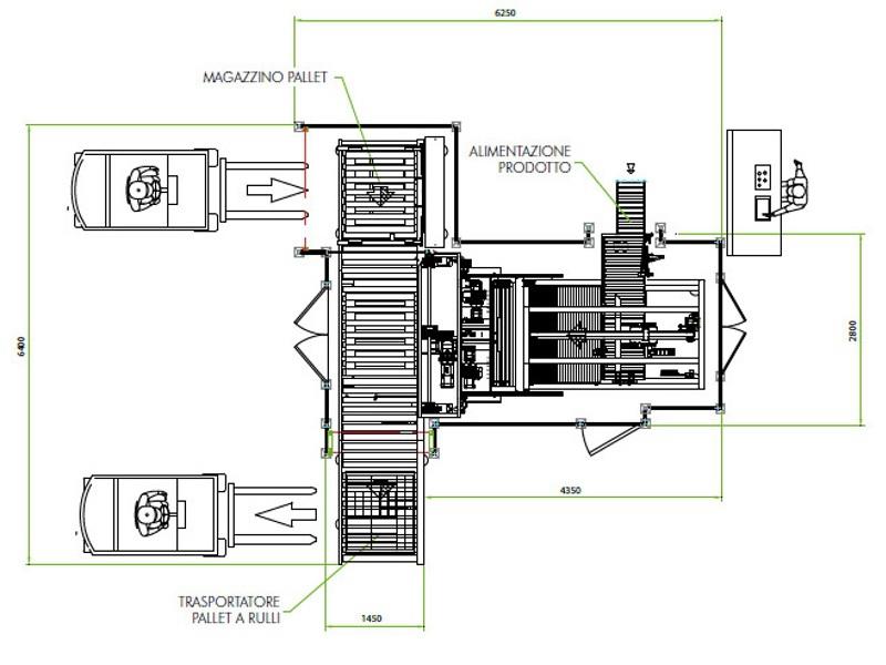 Used Automatic Palletizer Mondo & Scaglione Automatic P6 45/60 cpm year 2010 - 3