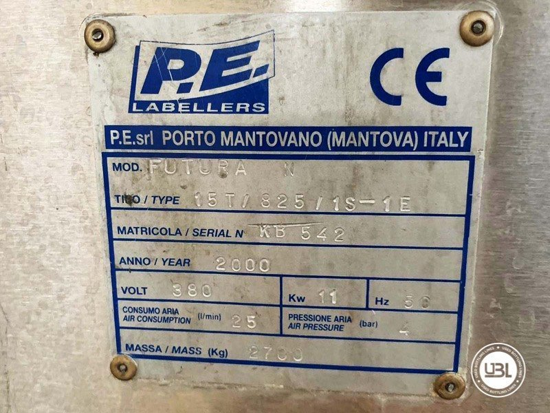 Used Bottle Labeler P.E. Labellers 15T/825/1S-1E 18000 bph year 2000 - 4