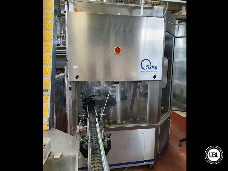 Used Filling Monoblock Cerma 26/6 Glass bottles Aluminum screw cap for Alcohol and oil 2980 bph - 2