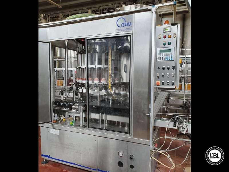 Used Filling Monoblock Cerma 26/6 Glass bottles Aluminum screw cap for Alcohol and oil 2980 bph - 4