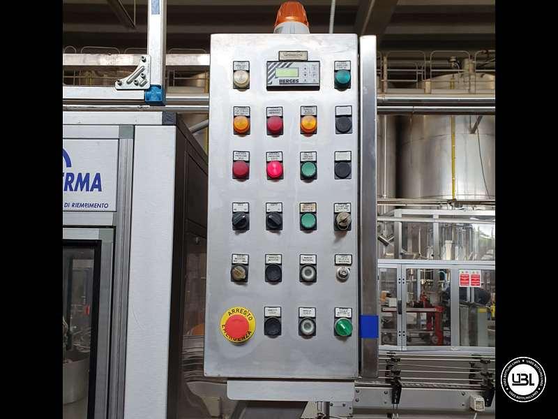 Used Filling Monoblock Cerma 26/6 Glass bottles Aluminum screw cap for Alcohol and oil 2980 bph - 6