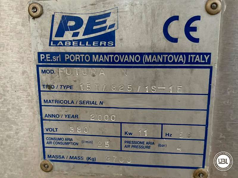 Used Bottle Labeler P.E. Labellers FUTURA 15T/825/1S-1E 18000 bph year 2000 - 6